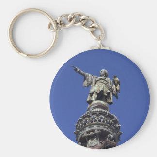 Columbus statue, Barcelona Basic Round Button Key Ring