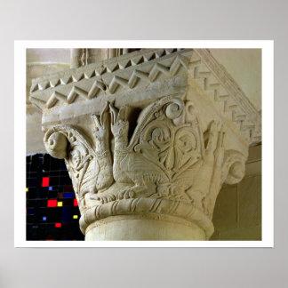 Column capital bearing symmetrically arranged grot poster
