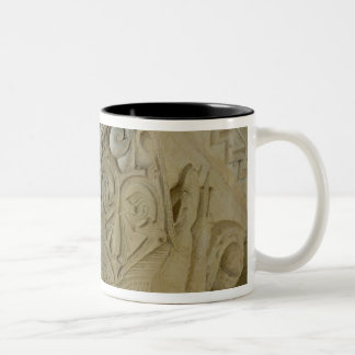 Column capital bearing symmetrically arranged grot Two-Tone coffee mug