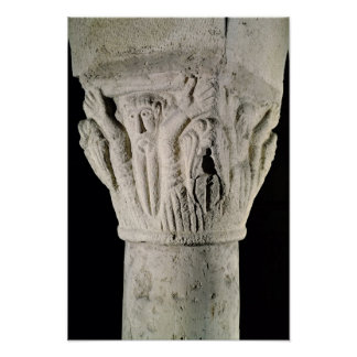 Column capital with a man with raised arms poster