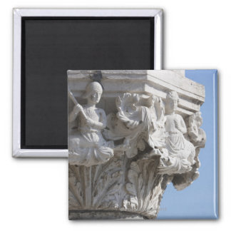 Column detail on the Doges' Palace Venice Italy Square Magnet