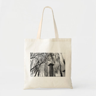 Column Under Weeping tree Black and White Picture Canvas Bags