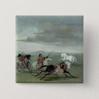 Comanche Feats of Martial Horsemanship, 1834 (oil 15 Cm Square Badge