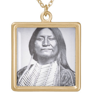 Comanche Tribesman, 1872 (b/w photo) Gold Plated Necklace