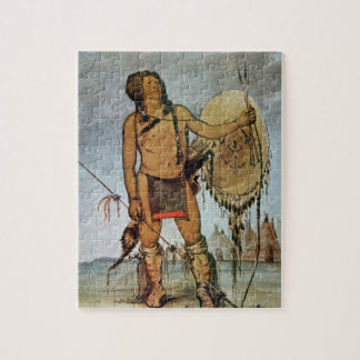 Comanche warrior with a shield, lance and bow and jigsaw puzzle