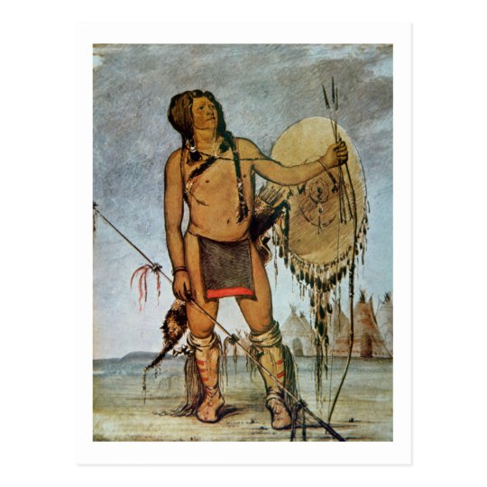 Comanche warrior with a shield, lance and bow and postcard