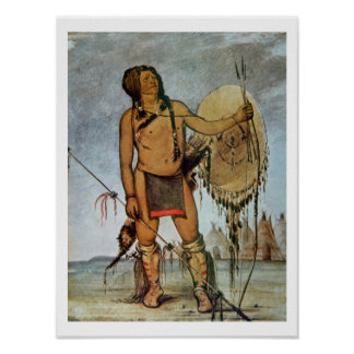 Comanche warrior with a shield, lance and bow and poster