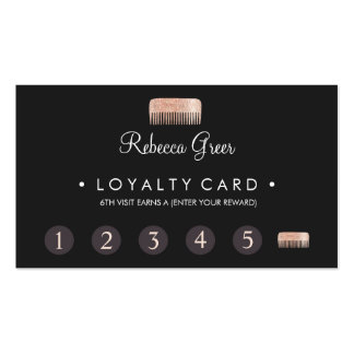 Comb Hairstylist 6 Punch Customer Loyalty Card Pack Of Standard Business Cards