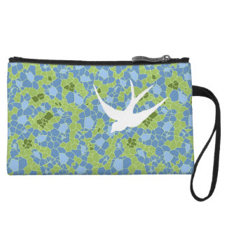 Comb Mosaic with Swallow Wristlet Purse
