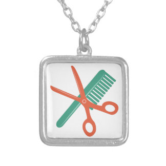 Comb & Scissors Square Pendant Necklace