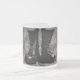 Combat Boots ACU Camouflage Pattern Military Frosted Glass Mug