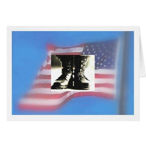 Combat boots, US Flag, Military Graduation Card