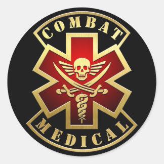 Combat Medical Skull & Swords Cross Patch Round Sticker