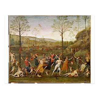 Combat of Love and Chastity by Pietro Perugino Postcard
