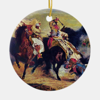 Combat of the Giaour and the Pasha by Delacroix Round Ceramic Decoration