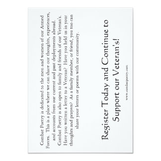"""Combat Poetry Card 4.5"""" X 6.25"""" Invitation Card"""