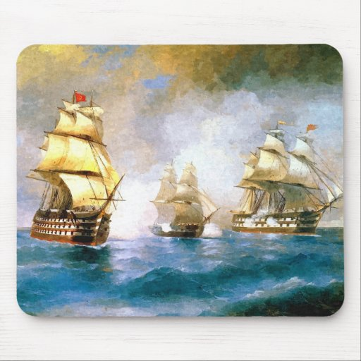 Combat ships at sea mouse pads