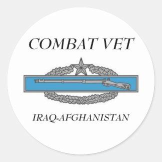 CombatInfBadge2Awd, COMBAT VET, IRAQ-AFGHANISTAN Classic Round Sticker