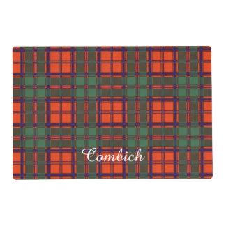 Combich clan Plaid Scottish kilt tartan Laminated Placemat