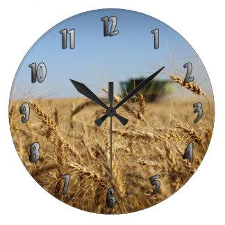 Combine in Wheat Field Large Clock