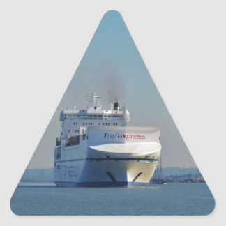 Combined Ferry And Container Ship Triangle Sticker