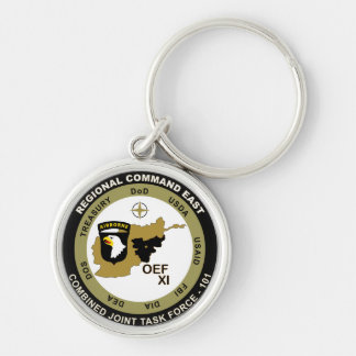 Combined Joint Task Force - Regional Command East Silver-Colored Round Key Ring