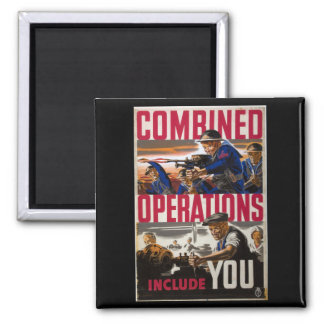 Combined operations - include_Propaganda Poster Square Magnet