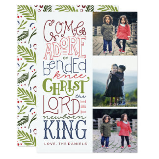 Come Adore Hand Lettered Photo Christmas Card