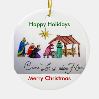 come adore him, Merry Christmas, Happy Holidays Double-Sided Ceramic Round Christmas Ornament