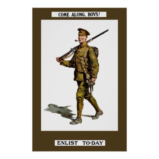 Come Along, Boys! Enlist To-Day Poster