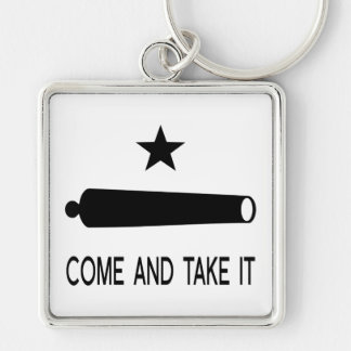 Come and Take It Flag ~ Texas Silver-Colored Square Key Ring