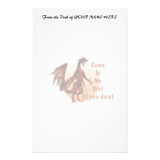 come at me bro dragon red w oval custom stationery