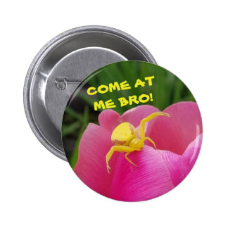 Come At  Me Bro! Yellow Crab Spider Meme 6 Cm Round Badge