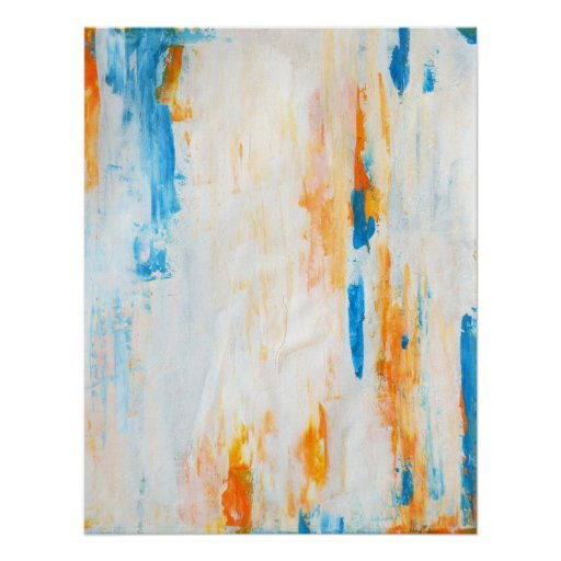 'Come Closer' Teal and Orange Abstract Art Poster