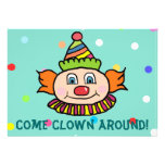Come Clown Around With Us Circus Clown Birthday Personalized Announcement