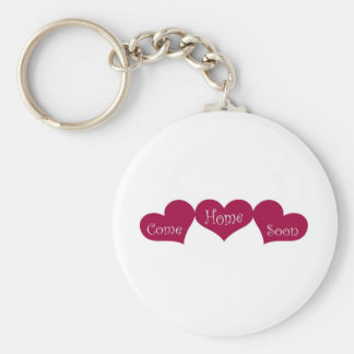 Come Home Soon Basic Round Button Key Ring