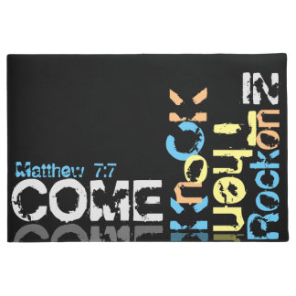 Come, knock, then rock on in black doormat big