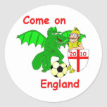 Come on England Classic Round Sticker