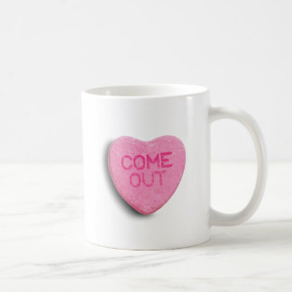 COME OUT CANDY HEART MUGS