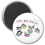"""""""Come play with us"""" 6 Cm Round Magnet"""