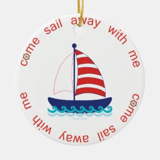 Come Sail Away Round Ceramic Decoration