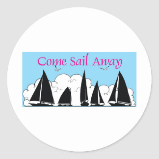 come sail away round sticker