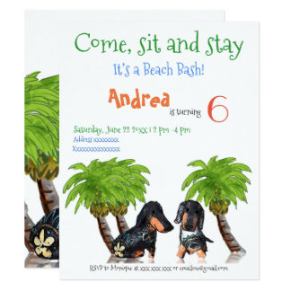 Come, sit and stay, Beach Bash Birthday Dachsund Card
