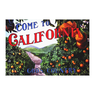 Come to California Vintage Graphic Gallery Wrapped Canvas