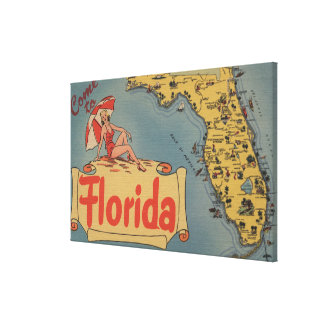 Come to Florida Map of the State, Pin-Up Girl Canvas Print