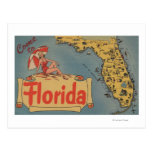 Come to Florida Map of the State, Pin-Up Girl Postcard