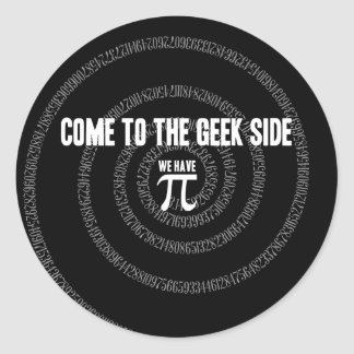 Come To The Geek Side for Pi Round Sticker