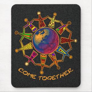 Come Together People | black splatter Mouse Pad