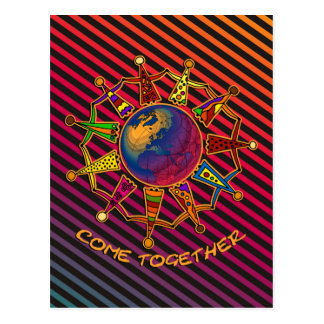 Come Together People | stripes black harmony Postcard