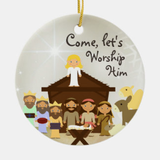 Come Worship Him Nativity Custom Ornament